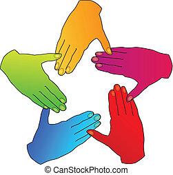 mãos, diversidade, pessoas, logotipo