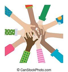 mãos, diverso, união