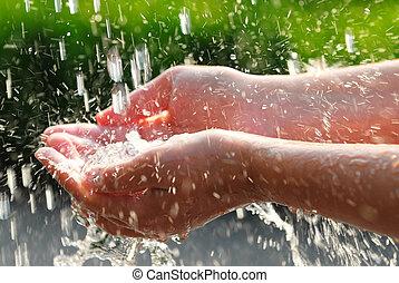 mãos, e, água