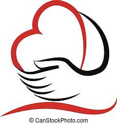 mãos, e, coração, amor, logotipo, vetorial