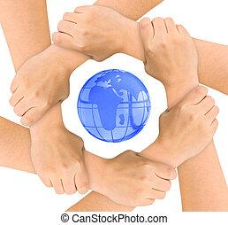 mãos, e, globo