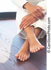 mãos, e, pés