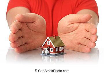mãos, e, pequeno, house.