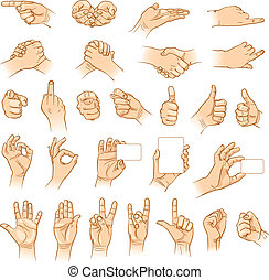 mãos, em, diferente, interpretations