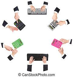 mãos, em, escritório