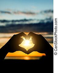 mãos, em, forma coração