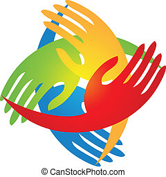 mãos, em, um, forma diamante, logotipo