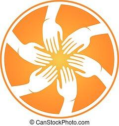mãos, encontrar pessoas, logotipo