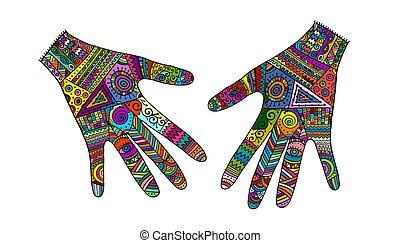 mãos, esboço, desenho, ornate, seu, style., boho