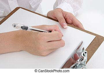 mãos, escrita