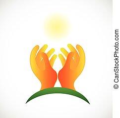 mãos, esperançoso, cuidado, sol, logotipo