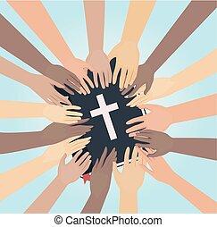mãos, estudo bíblia, ilustração