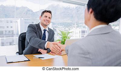 mãos, executivos, negócio, agitação, após, reunião