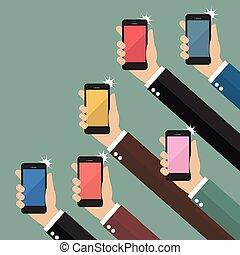 mãos, fazendo exame retratos, com, smartphones