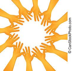 mãos, fazendo um círculo