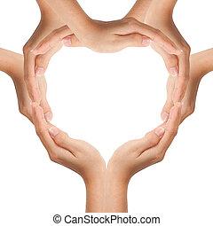 mãos, fazer, forma coração