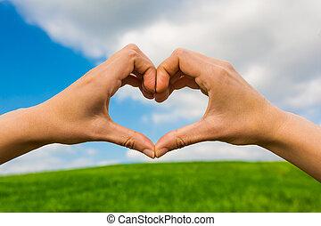 mãos, fazer, um, forma coração