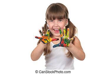 mãos, feliz, pre, criança, escola, pintado