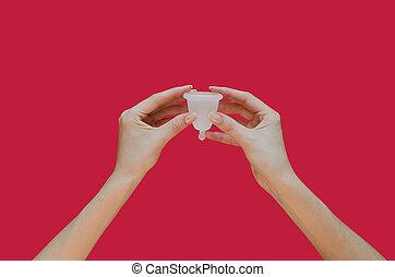 mãos, feminina, cor-de-rosa, experiência., higiene, copo, menstrual, produto, alternativa