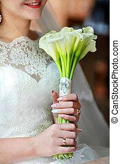 mãos, flores, buquet, noiva, calla, branca