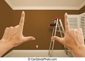 mãos, formule, marrom, parede pintada, interior