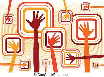 mãos, funky, design.
