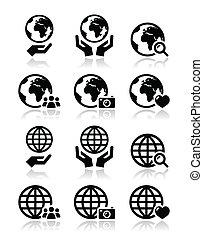mãos, globo, vetorial, terra, ícones