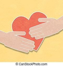 mãos, heart., segurando, caridade