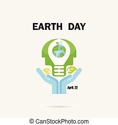mãos humanas, e, globo, ícone, com, luz cabeça, bulbo, vetorial, logotipo, desenho, template.earth, dia, campanha, idéia, concept.earth, dia, idéia, campanha, para, cartão cumprimento, ou, abstratos, background.vector, ilustração