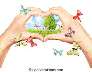 mãos humanas, e, natureza, detalhes