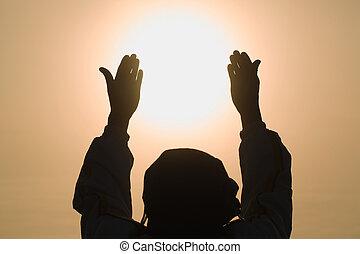 mãos humanas, palma, senhor, abertos, elogio