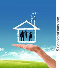 mãos humanas, segurando, modelo uma casa, natureza, fundo