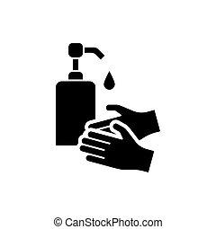 mãos, isolado, ícone, líquido, sabonetes, lavando