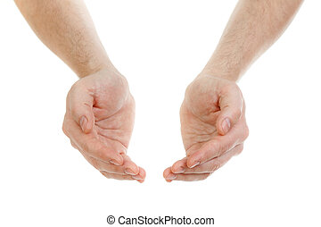 mãos, isolado, branco, conceito