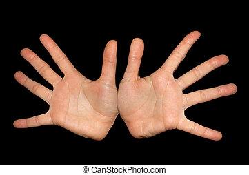 mãos, isolado, ligado, pretas