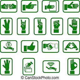 mãos, jogo, ícone