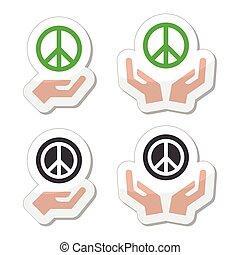 mãos, jogo, sinal, paz, ícones