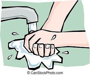 mãos lavando