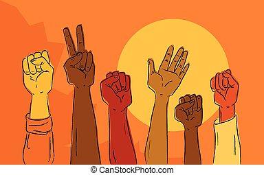 mãos, levantar, em, político, protesto