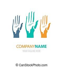 mãos, logotipo, design., ilustração, vetorial, coloridos