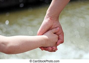 mãos, mãe, criança