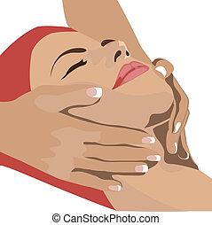 mãos, massaging, cara fêmea, spa