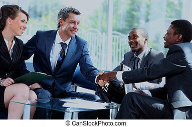 mãos, meeting., agitação, pessoas negócio