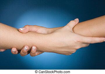 mãos, mostrar, ajuda