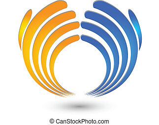 mãos, negócio, logotipo