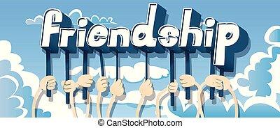 mãos, palavra, segurando, friendship.
