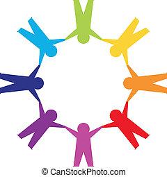 mãos, papel, círculo, segurando, pessoas