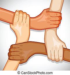 mãos, para, unidade