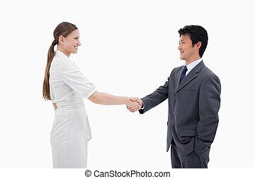 mãos, pessoas, agitação, negócio