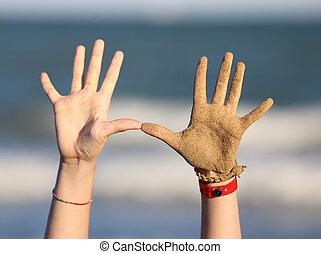 mãos, praia, dedos, dez, dois
